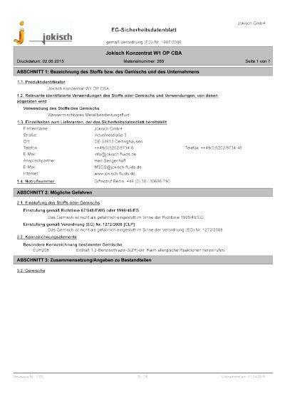 Jokisch Konzentrat W1 OP CBA: Sicherheitsdatenblatt