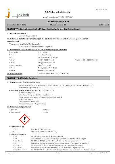 Jokisch Universal KSS: Sicherheitsdatenblatt