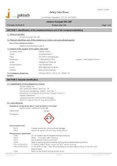 Jokisch Compact W4 CBF: Material safety datasheet