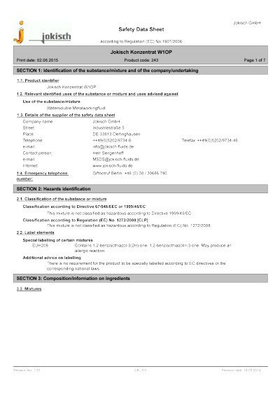 Jokisch Concentrate W1 OP CBA: Material safety datasheet