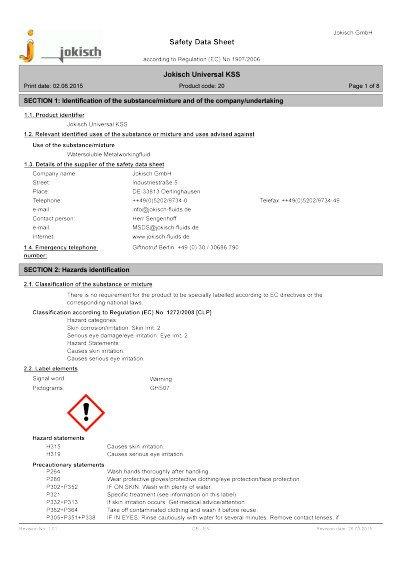Jokisch Universal KSS: Material safety datasheet