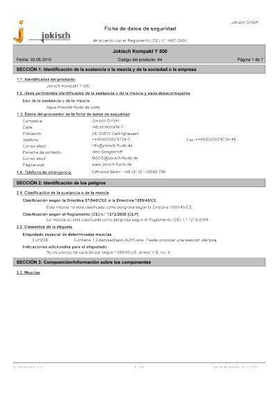 Jokisch compacto Y 500: Ficha de datos de seguridad