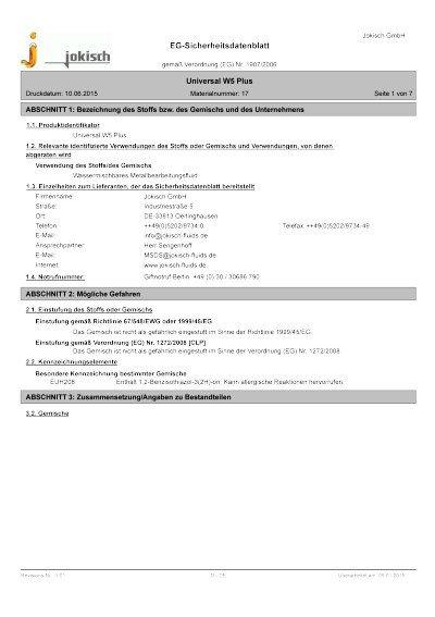 Jokisch Universal W5 Plus: Sicherheitsdatenblatt