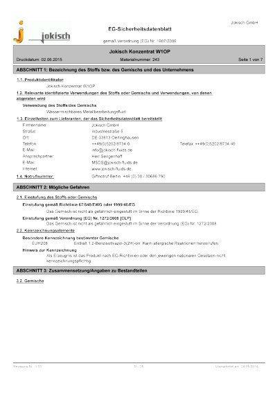Jokisch W1 OP: Sicherheitsdatenblatt
