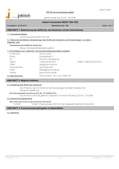 Jokisch W2 OP CBA VEG: Sicherheitsdatenblatt