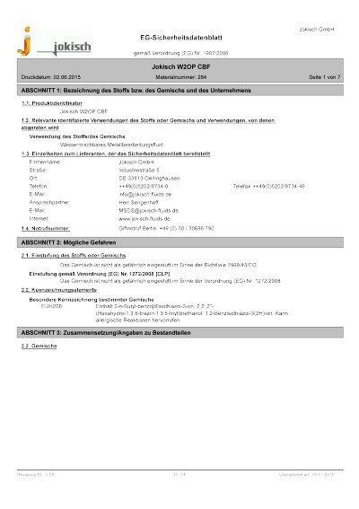 Jokisch W2 OP CBF: Sicherheitsdatenblatt