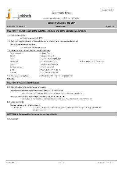 Jokisch Universal W5 CBA: Material safety datasheet