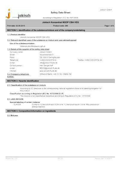 Jokisch W2 OP CBA VEG: Material safety datasheet