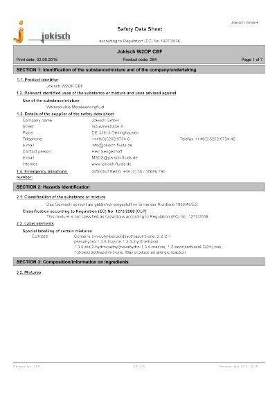 Jokisch W2 OP CBF: Material safety datasheet