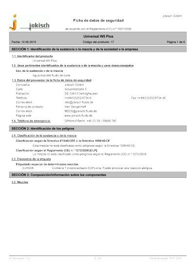 Jokisch Universal W5 Plus: Material safety datasheet