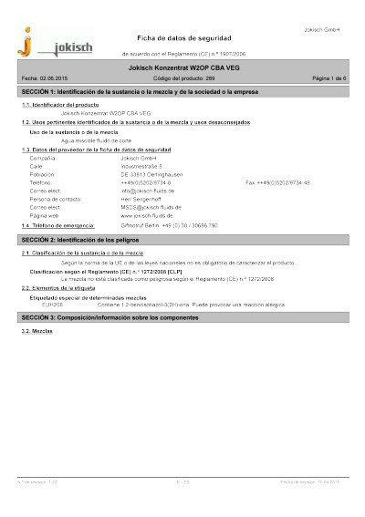 Jokisch W2 OP CBA VEG: Ficha de datos de seguridad