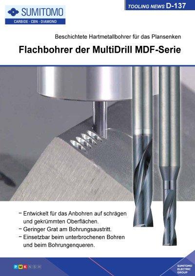 Tooling News D-137: Flachbohrer der MultiDrill MDF-Serie - Beschichtete Hartmetallbohrer für das Plansenken