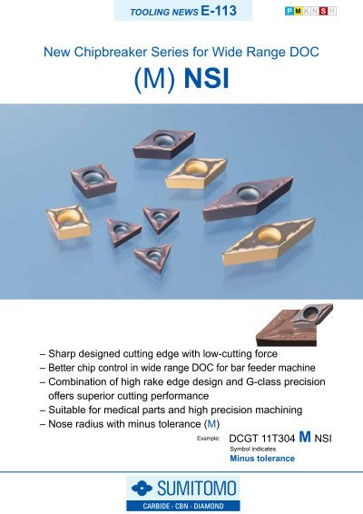 Tooling News E-113: NSI Chipbreaker Series for wide range DOC