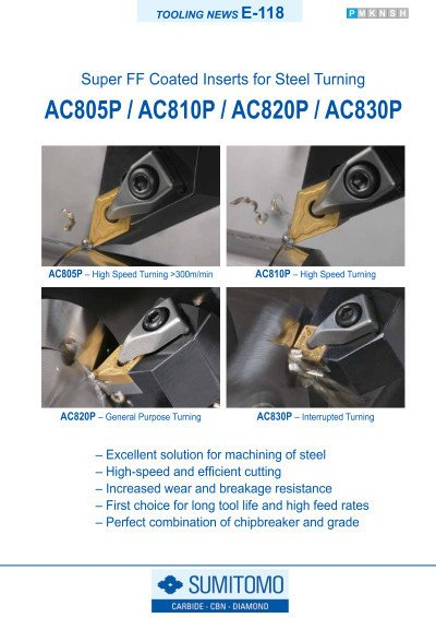 Tooling News E-118: AC800P Series Super FF Coated Inserts for Steel Turning