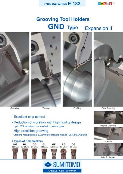 Tooling News E-132: GND Type Grooving Tool Holders Expansion