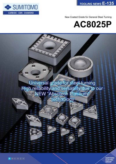 Tooling News E-135: AC8025P Coated Grade for General Steel Turning