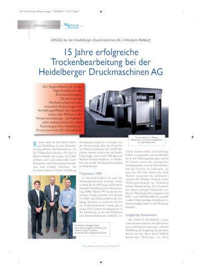 Trockenbearbeitung bei der Heidelberger Druckmaschinen AG