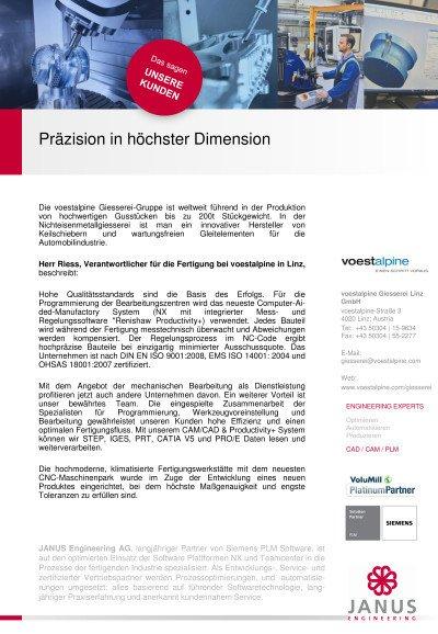 Präzision in höchster Dimension - Anwenderbericht von voestalpine
