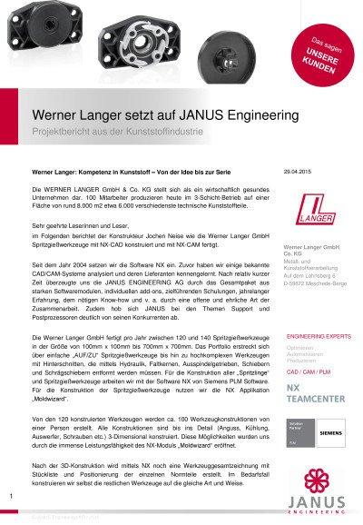 Projektbericht aus der Kunststoffindustrie - Anwenderbericht der Werner Langer GmbH Co.KG