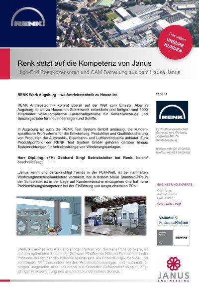 High-End Postprozessoren und CAM Betreuung aus dem Hause Janus - Anwenderbericht der Renk AG