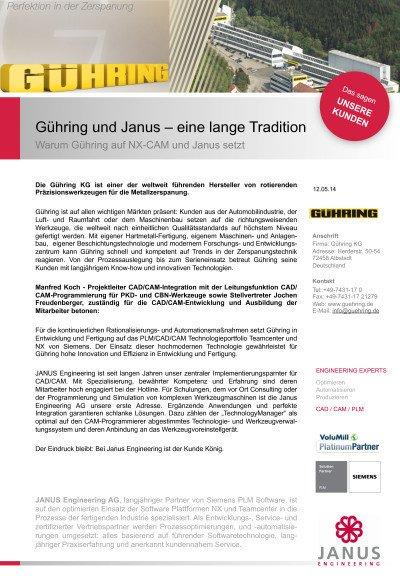 Warum Gühring auf NX-CAM und Janus setzt - Anwenderbericht der Gühring KG