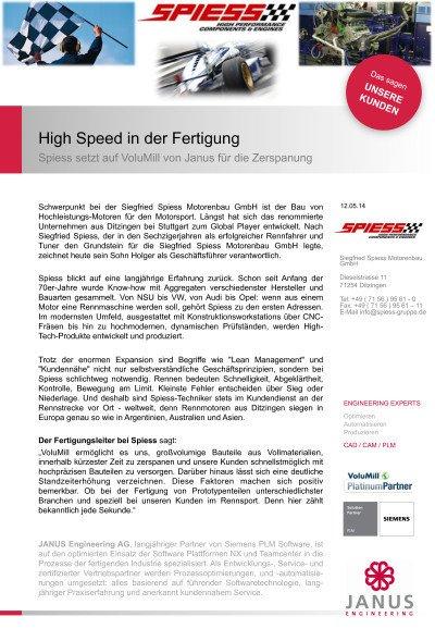 Spiess setzt auf VoluMill von Janus für die Zerspanung - Anwenderbericht der Siegfried Spiess Motorenbau GmbH