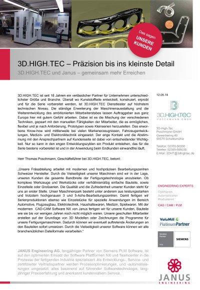 3D.HIGH.TEC und Janus – gemeinsam mehr Erreichen - Anwenderbericht der 3D.HIGH.TEC Poschmann GmbH