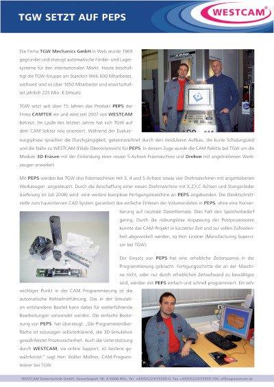 TGW setzt auf PEPS - Anwenderbericht TGW Mechanics GmbH