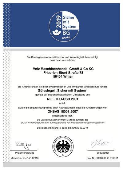 VOLZ ist zertifiziert nach OHSAS 18001:2007