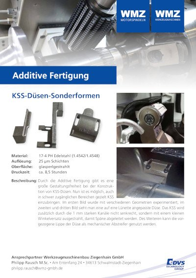 Additive manufacturing coolant nozzle special form