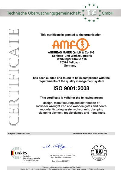 Recertification of AMF according to ISO 9001-2008