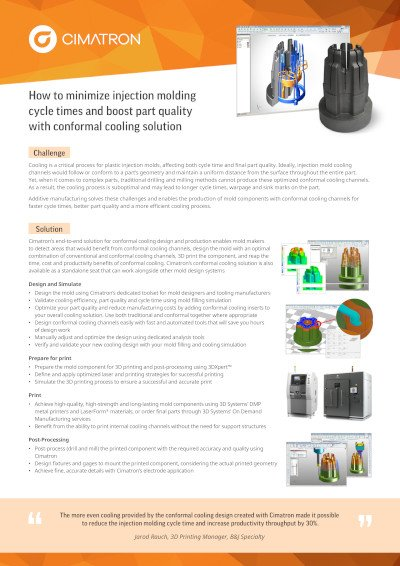 How to minimize injection molding cycle times and boost part quality with conformal cooling solution