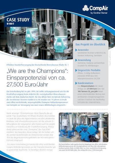 """""""We are the Champions"""": Einsparpotenzial von ca. 27.500 Euro/Jahr - Fallbeispiel Gerolsteiner"""