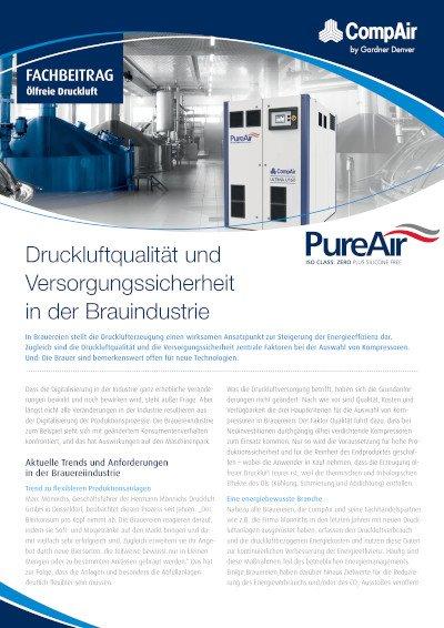Druckluftqualität und Versorgungssicherheit in der Brauindustrie