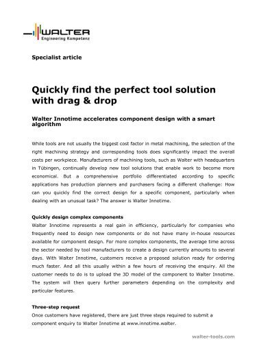 Quickly find the perfect tool solution with drag & drop