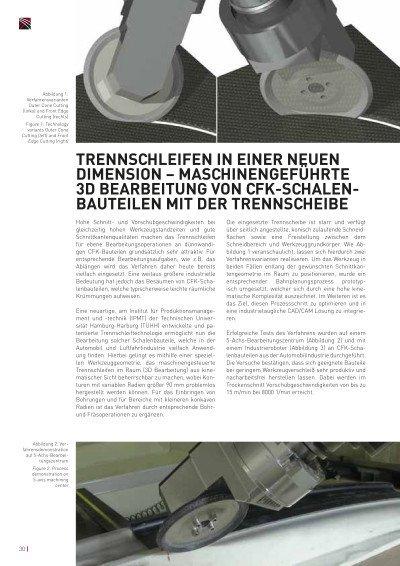 Trennschleifen in einer neuen Dimension - Maschinengeführte 3D Bearbeitung von CFK-Schalenbauteilen mit der Trennscheibe