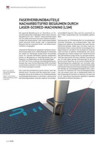 Faserverbundbauteile nacharbeitsfrei besäumen durch Laser-Scored-Machining (LSM)