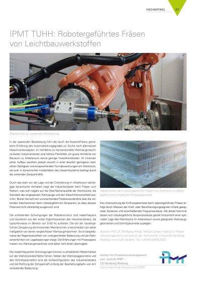 IPMT TUHH: Robotergeführtes Fräsen von Leichtbauwerkstoffen
