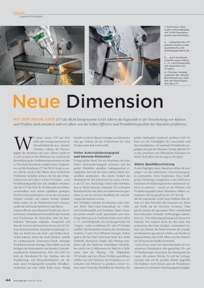 Neue Dimension (LT 7 bei GAH Alberts) veröffentlicht in der bbr Februar 2019