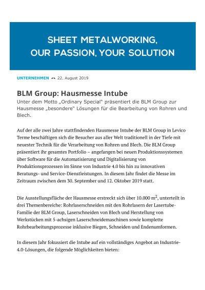 BLM Group: Hausmesse Intube 2019 (veröffentlicht in der BLECH 22. August 2019)