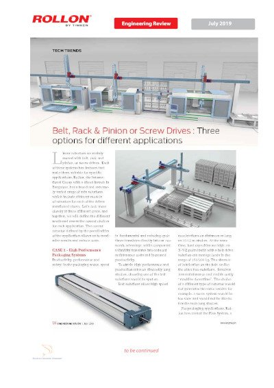 Belt, Rack & Pinion or Screw Drives: Three options for different applications