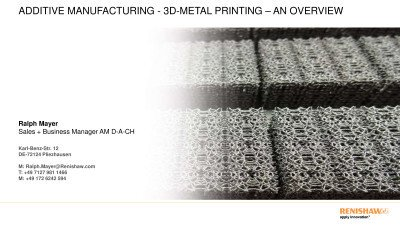 Additive Manufacturing – 3D-printing in metal – overview