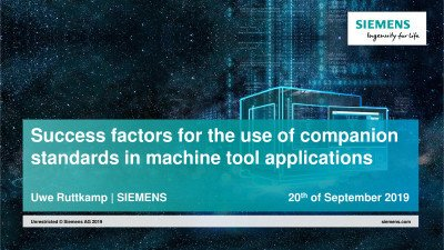 Success factors for the use of companion standards in machine tool applications
