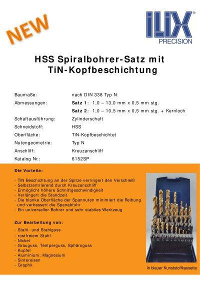 HSS Spiralbohrer-Satz mit TiN-Kopfbeschichtung