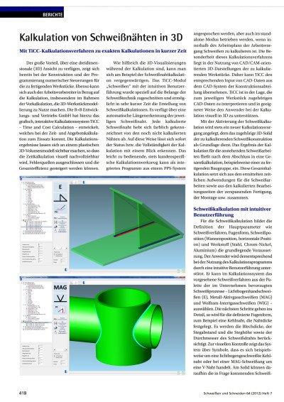Kalkulation von Schweißnähten in 3D