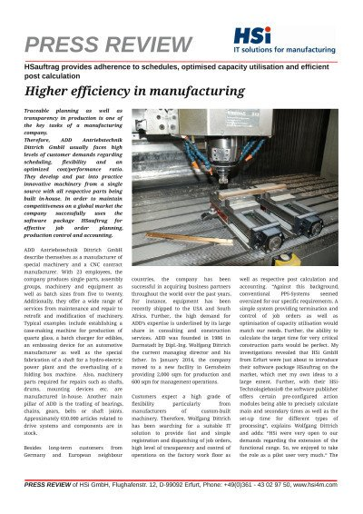 Higher efficiency in manufacturing