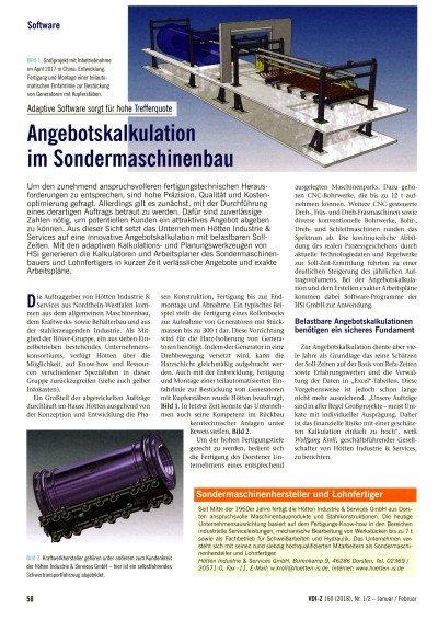 Hötten Industrie & Services, Dorsten - Angebotskalkulation im Sondermaschinenbau